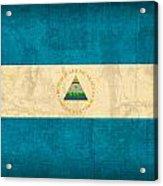 Nicaragua Flag Vintage Distressed Finish Acrylic Print