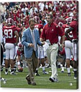 Nick Saban And The Tide Acrylic Print by Mountain Dreams