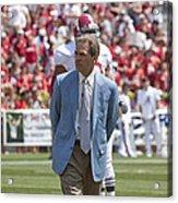 Nick Saban Head Football Coach Of Alabama Acrylic Print by Mountain Dreams
