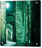 Night Alley In Old City Of Siena Tuscany Italy Acrylic Print