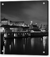 Night At Waterworks In Black And White Acrylic Print