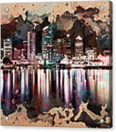 Night City Reflections Watercolor Painting Acrylic Print