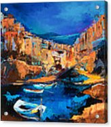 Night Colors Over Riomaggiore - Cinque Terre Acrylic Print