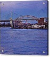 Night Descends Over The Triboro Bridge - Nyc Acrylic Print