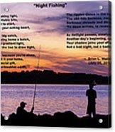 Night Fishing - Poem Acrylic Print