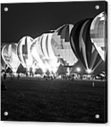 Night Glow Hot Air Balloons Bw Acrylic Print