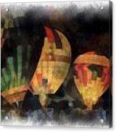 Night Glowing Hot Air Balloons Photo Art Acrylic Print