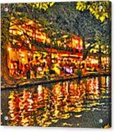 Night Life By The River Walk Acrylic Print
