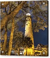 Night Lighthouse Acrylic Print by Debra and Dave Vanderlaan