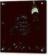 Night Lights Clock Tower Building Acrylic Print