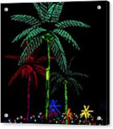Night Lights Electric Palm Trees Acrylic Print