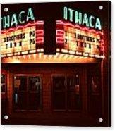 Night Lights Ithaca Theater Acrylic Print