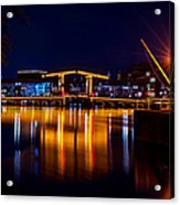 Night Lights On The Amsterdam Canals 1. Holland Acrylic Print
