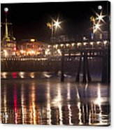 Night On Santa Monica Beach Pier With Bright Colorful Lights Reflecting On The Ocean And Sand Fine A Acrylic Print