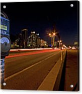 Night Parking Meter Acrylic Print by Peter Tellone