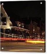 Night Scene At The Intersection Of Main Street And Schutstraat In Hoogeveen Acrylic Print