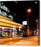 Night Scenery At The Crossroads - Bus Acrylic Print