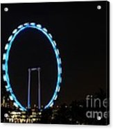 Night Shot Of The Singapore Flyer Ferris Wheel At Marina Bay Acrylic Print