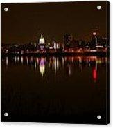 Night Skyline Harrisburg Pa Pink Lights Acrylic Print