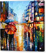 Night Umbrellas - Palette Knife Oil Painting On Canvas By Leonid Afremov Acrylic Print