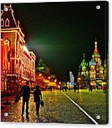 Night View Of Gum And Saint Basil Cathedral In Red Square In Moscow-russia Acrylic Print