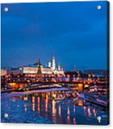 Night View Of Moscow Kremlin In Wintertime - Featured 3 Acrylic Print