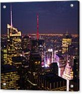 Night View Of New York Acrylic Print
