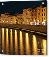Night View Of River Arno Bank In Pisa Acrylic Print