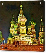 Night View Of Saint Basil Cathedral In Red Square In Moscow-russia Acrylic Print
