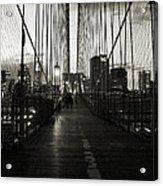 Nightfall On The Brooklyn Bridge Acrylic Print