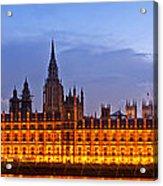 Nightly View London Houses Of Parliament Acrylic Print