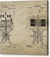 Nikola Tesla's Electrical Generator Patent 1894 Acrylic Print