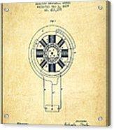Nikola Tesla Patent Drawing From 1889 - Vintage Acrylic Print