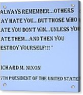 Nixon Quote In Cyan Acrylic Print