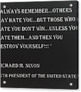 Nixon Quote In Negative Acrylic Print
