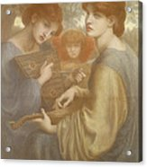 No. 1011 Study For The Bower Meadow Acrylic Print by Dante Gabriel Charles Rossetti