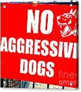 No Aggressive Dogs Acrylic Print