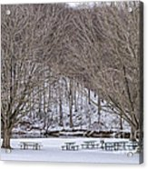 Snowy Picnic Ground In Winter Acrylic Print