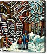 No School Today Out For A Snowy Walk Verdun Winter Winding Staircases Montreal Paintings C Spandau Acrylic Print