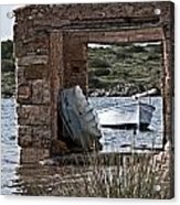 Vintage Boat Framed In Nature Of Minorca Island - Hide And Seek Acrylic Print