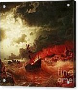 Nocturnal Marine With Burning Ship Acrylic Print