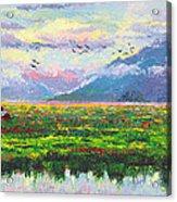 Nomad - Alaska Landscape With Joe Redington's Boat In Knik Alaska Acrylic Print