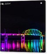 Norbert F. Beckey Bridge In Rainbow Lighting Acrylic Print