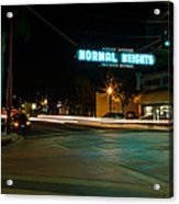 Normal Heights Neon Acrylic Print by John Daly