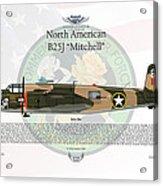 North American B-25j Mitchell Yellow Rose Acrylic Print