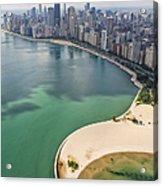 North Avenue Beach Chicago Aerial Acrylic Print by Adam Romanowicz