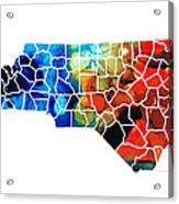 North Carolina - Colorful Wall Map By Sharon Cummings Acrylic Print