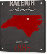 North Carolina State University Wolfpack Raleigh College Town State Map Poster Series No 077 Acrylic Print