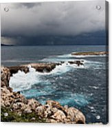 Wild Rocks At North Coast Of Minorca In Middle Of A Wild Sea With Stormy Clouds Acrylic Print