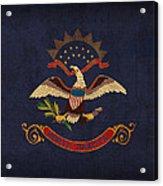 North Dakota State Flag Art On Worn Canvas Acrylic Print